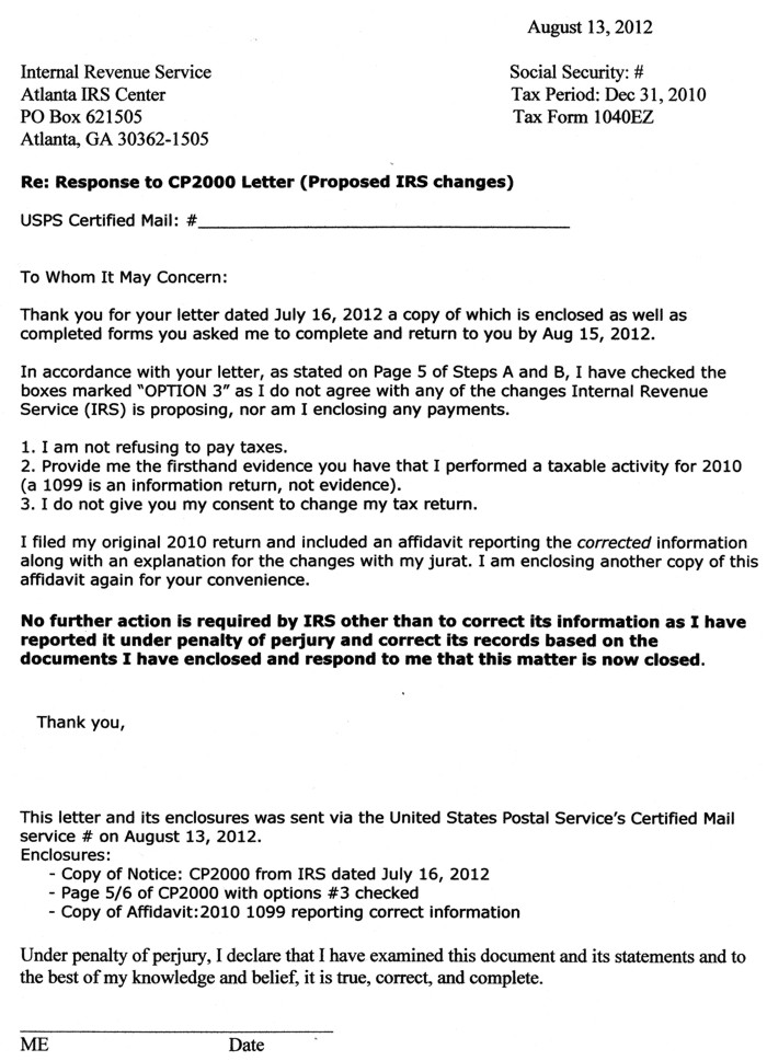 cp2000 response letter sample every which way but 21220