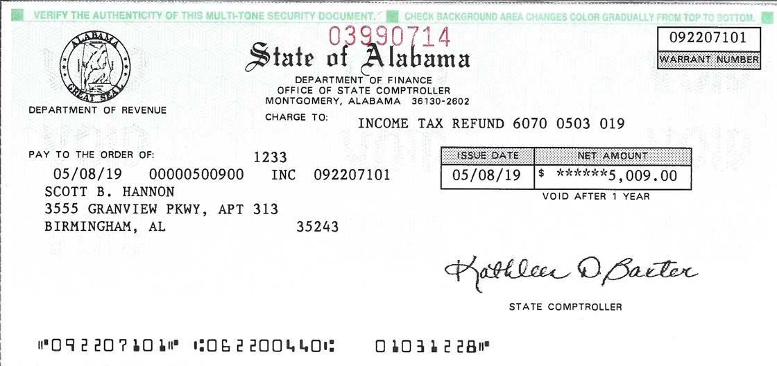 alabama income tax refund warrant number